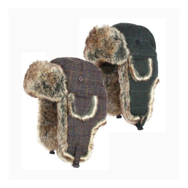 Wool Blend Tweed Flat Caps (Green & Brown)